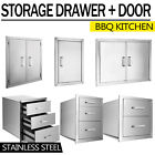 Outdoor Kitchen BBQ Island Components Stainless Steel Access Door And Drawer