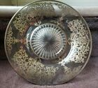 Antique Etched Glass Plate with Gold Floral Scroll Overlay Design