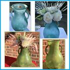 Pier 1 Frosted Glass Vase With Double Handles Decorative Blue Or Green 13 High