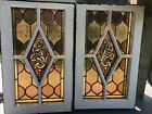 Full Antique Jeweled Stained Glass Casement Window Set