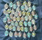 Vintage Hand Painted Clear Blown Glass Floral Flower Easter Egg Ornaments 50 Lot