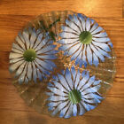 Sydenstricker Fused Glass Serving Plate Pleated Daisies Flowers