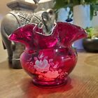 Fenton Ruby Red Ruffled Edge Rose Bowl Hand Painted with Roses Signed by Artist