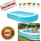Inflatable Pool Blow Up Kiddie Family Garden Outdoor Backyard Non Toxic Blue