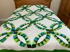 Queen size Double wedding ring machine pieced and quilted Patchwork quilt 40