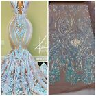 Iridescent aqua Sequin Fabric On Nude Mesh 4 Way Stretch Mesh Lace By Yard