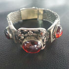 Chinese Old Craft Made Red zircon Inlaid Old Tibetan Silver Chain Bracelet