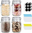 Glass Jars 4 Pack 34 OZ Airtight Lids Glass Canister Wide Mouth Mason Jars