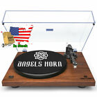 Vintage Record Player 2 Speed Vinyl Turntable with Angels Horn WOOD COLOR