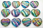 Lot of 12 pcs HEART DICHROIC FUSED GLASS for pendant M15 CABS HANDMADE