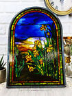 Louis Tiffany Daffodils Oyster Bay Stained Glass Art Panel Wall Or Desk Plaque