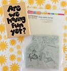 House Mouse Cling Mount Rubber Stamp Staying Cool Retired + Fun Yet Wood Mount