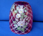 Fenton Cranberry Diamond Optic Fairy Light Handpainted Roses Signed Top only