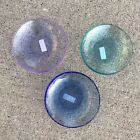 Set Of 3 Fire And Light Recycled Art Glass Dipping Dish Cobalt Lavender Aqua