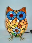 Stained Glass Electric Lamp Light Up Glass Owl 11 Tall