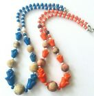 lot 2x glass beads necklaces pressed flowers blue orange pressed glass wood