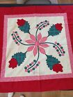 Vintage Applique Quilt Block Wall Hanging Top 34 Square Inked Remember Me
