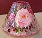 Yankee Crackled Glass Candle Shade Pink Flowers NEW