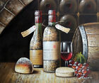 Vintage Wine Bottles Cellar Tasting Glass Grapes 20X24 Oil Painting STRETCHED