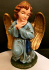 Vintage Large Blue Adoring Angel Christmas Nativity Figure Statue Gold Wings