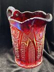 Iridescent Carnival Heirloom Pitcher Amberina Red Indiana Glass