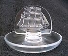 Signed LALIQUE France Clipper Ship Round Ring Holder Dish 3 7 8