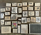 Lot Of 35 Rubber Stamps Animals Holiday Scenic Floral Sayings