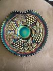 NORTHWOOD GRAPE AND CABLE CARNIVAL GLASS DISH GREEN TURQ BLUE IRIDESCENCE