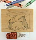 House Mouse Wood Mount Rubber Stamp Bottle Time Crayon Box+Color My World Phrase