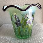 FENTON Vintage Iris Green Vase Hand Painted By A Brack Signed By Bill Fenton