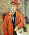 Modigliani Man Wine Glass  Bottle Masters Repro STRETCHED 20X24 Oil Painting