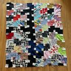 Vintage Quilt Top Unfinished Abstract Funky Wild Unique Color Block Pattern