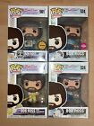 Funko POP Bob Ross Set of 4, Chase, Flocked Exclusive, with 0.50mm Protectors