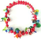Gorgeous Red Beaded Murano Glass Leaves  Flowers Vintage Necklace