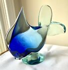 Vintage Art Glass Murano Style Fish Blue And Clear 5lb
