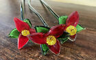 3 Vintage Art Glass Long Stem Flowers Red Open Yellow Centers Green Stems 20