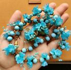 Rare Vintage Blue Italian Venetian Glass Flower Necklace and Clip On Earrings