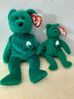 Ty Shamrock Erin the Bear and baby ErinBeanie Babies  super clean 1 left
