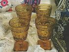 4 VINTAGE INDIANA AMBER GLASS COLONY PARK LANE FOOTED GOBLETS