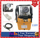 110V Electric Driven Hydraulic Pump Double Acting Pedal Solenoid Valve w Control
