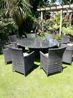 Large Rattan Garden furniture Set Table 8 Chairs with Cream Seat Cushions