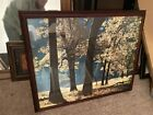 Large Framed Modern Outdoor Painting Signed