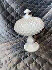 VTG White Milk Glass Diamond Point Pattern Candy Dish With Lid