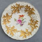 Meissen Large Center Bowl Floral with Heavy Gold Embossed Oak Leaves