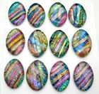 Lot of 12 pcs OVAL DICHROIC FUSED GLASS pendant T21 CABOCHONS HANDMADE
