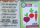 Impression Obsession MIXED VEGGIE SAYINGS Clear Stamp  CARROT BEET RADISH Die