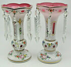 Pr Old Bohemian Floral White Cut To Pink Case Glass Lusters w Cut Crystal Prisms