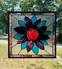 Agate Flower STAINED GLASS Window 18 1 2 X 17 7 8 Design25