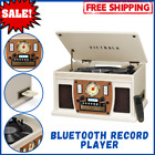 Bluetooth Record Player with USB Encoding and 3 speed Turntable 8 in 1 White