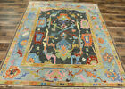 8x10 Vege dyed Turkish Oushak Transitional Hand knotted wool Charcoal area rug
